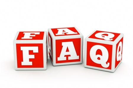 faq's: a red cubes with letters inside in a shape of faq word
