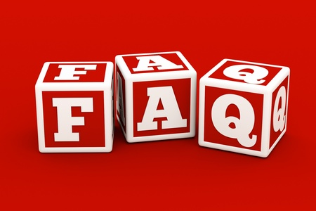 buzzword: a red cubes with letters inside in a shape of faq word