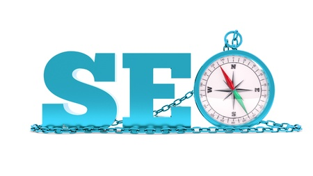 a blue seo concept with compass with chain
