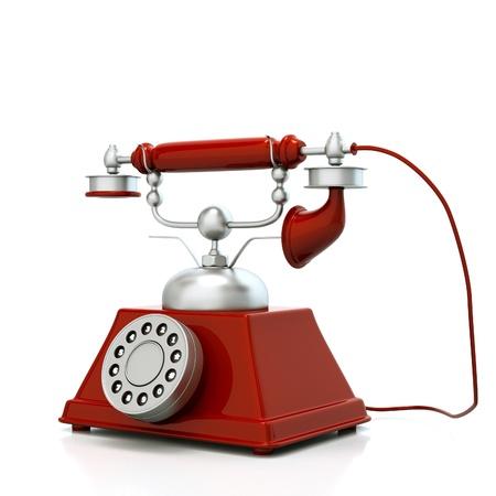 a cherry red retro phone on white photo
