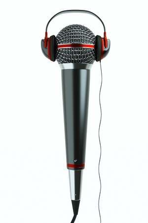 a single microphone with headphones on white, a speak and listen concept photo