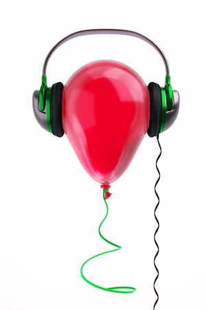 a balloon with headphones on white, music concept Stock Photo - 10768012