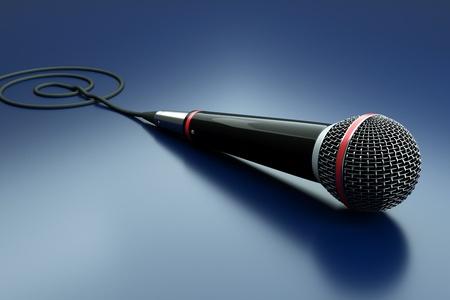a single microphone on blue photo