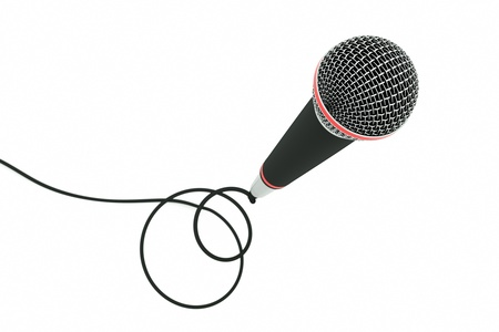 cord: a single microphone on white