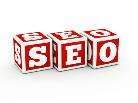 a  seo concept with cubes on white Stock Photo - 10768038