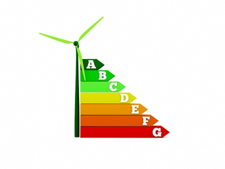 an energy efficiency chart with wind turbine Stock Photo - 10793934