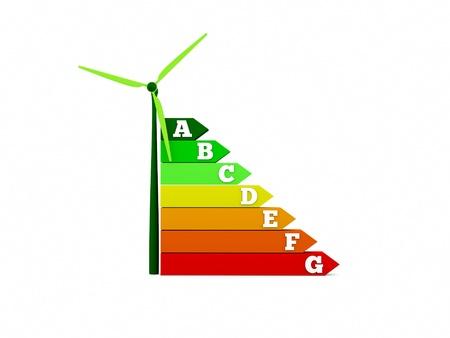 an energy efficiency chart with wind turbine Stock Photo - 10793934