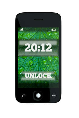 a 2012 concept, unlock the new 2012 year, single pda with color background on screen on white photo