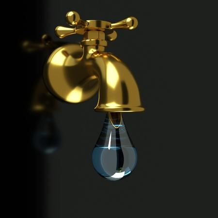 llave de agua: un Fauset de oro con una gota de agua Foto de archivo