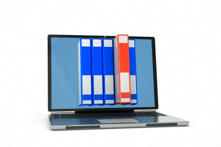 knowlage: a laptop with books on the screen isolated on white