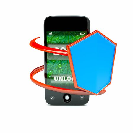 a cellphone protection concept, a pda with shield ioslated on white photo