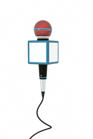 news reporter: a news reporter microphone on white