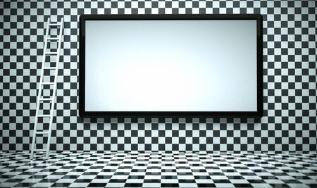 checkerboard: a creative room with blackboard and staircase