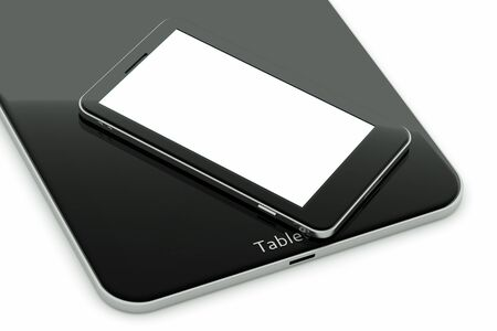a tablet pc with modern cellphone on white
