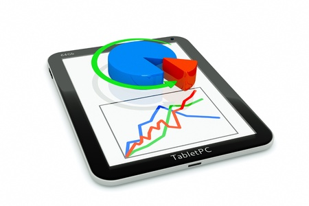 a tablet pc and business diagram as a concept of process of business development photo