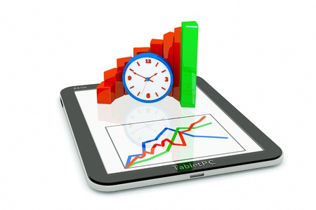 quantities: a tablet pc and business diagram as a concept of process of business development with time