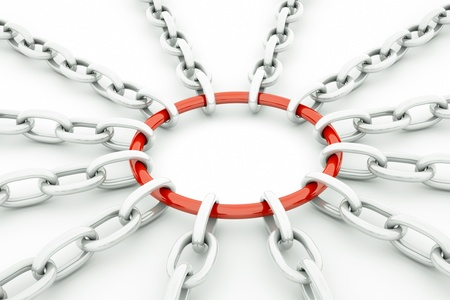 chain links: a glossy chain in the sun shape isolated on white