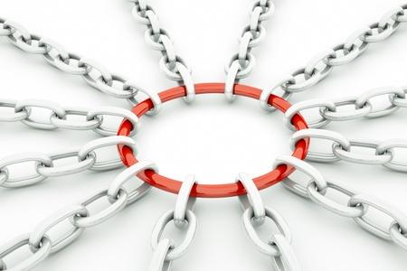cadenas: una cadena brillante en la forma de sol aislado en blanco
