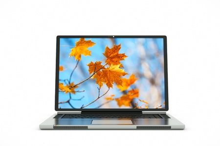 a laptop autumn bacground on screen photo