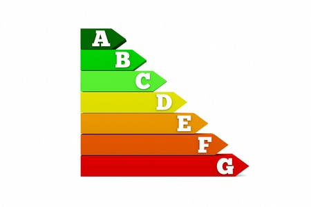 an energy efficiency chart isolated on white photo
