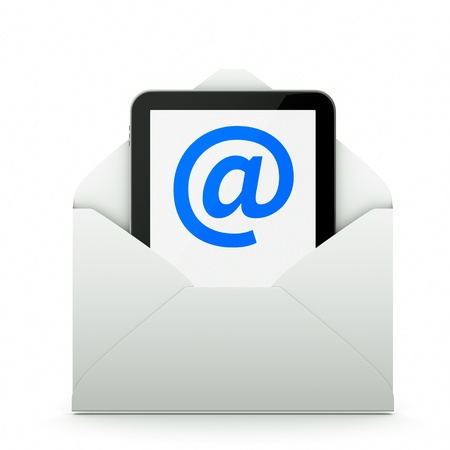 a tablet pc as a mail photo