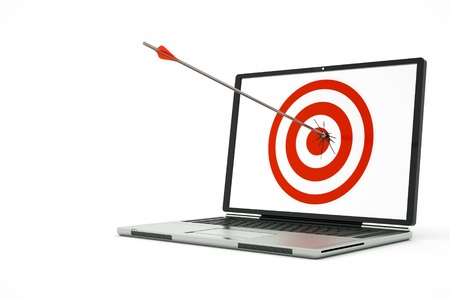 a business concept with laptop and arrow photo