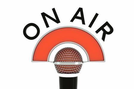 """casting: ein einziges Mikrofon mit """"on air"""" isoliert auf wei� Lizenzfreie Bilder"""