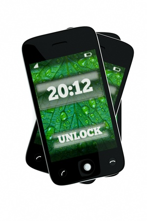 a 2012 concept, unlock the new 2012 year,  pdas with color background on screen on white photo
