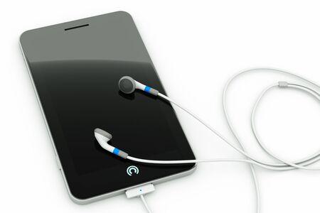 earphones: a single pda with earphones on white