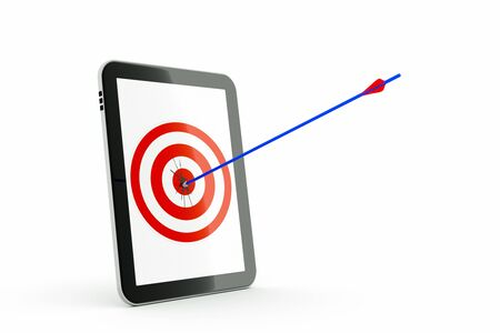 a tablet computer with aim and arrow  isolated on white Stock Photo - 11004357