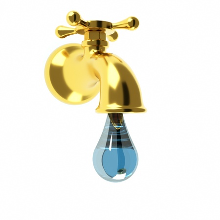 potable: a golden fauset with a water drop Stock Photo