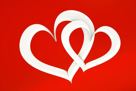 sq: a two white hearts on red