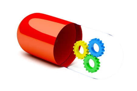 the salvation pill concept, pill with gears inside Stock Photo - 11316698