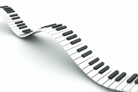 musical instrument parts: a piano keyboard wave on white