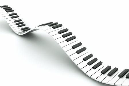piano de cola: una ola de teclado de piano sobre fondo blanco Foto de archivo