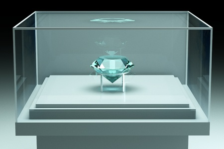 a glass showcase with gem inside photo