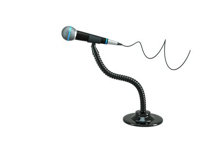 a single microphone on white Stock Photo - 11316746