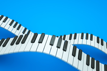 a piano keyboard waves on blue