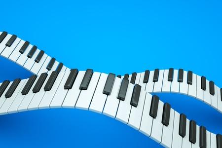 piano closeup: a piano keyboard waves on blue