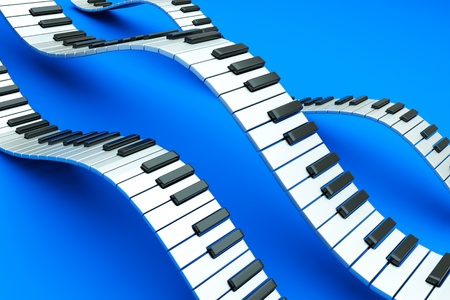sounds: a piano keyboard waves on blue