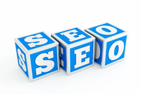 a  seo concept with cubes on white photo