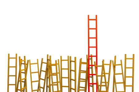 a competition concept, ladders on white Stock Photo