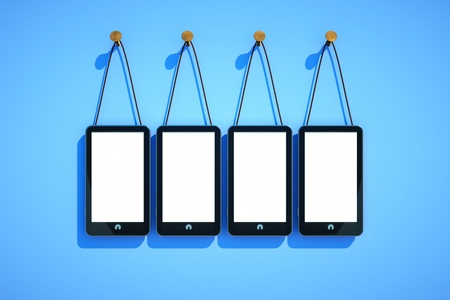 pda: a cellphones on blue background, put your own word or date on the screen