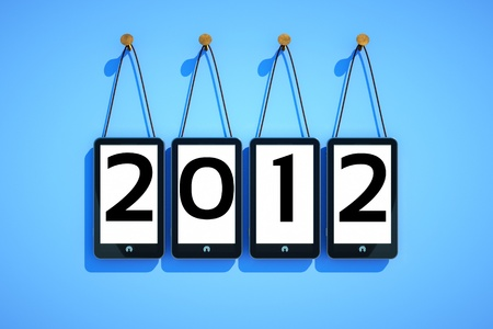 a cellphones on blue background, 2012 new year concept photo