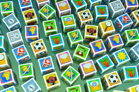 category: a cubes with icons on it, creative background Stock Photo