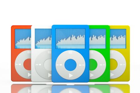 tactile: a set of mp3 players on white