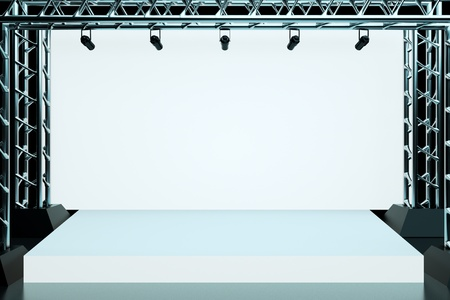 empty stage: a concert stage with metal frame Stock Photo