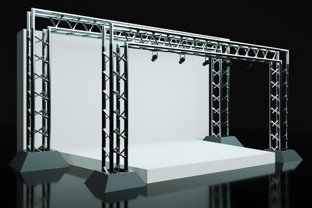 a concert stage with metal frame photo