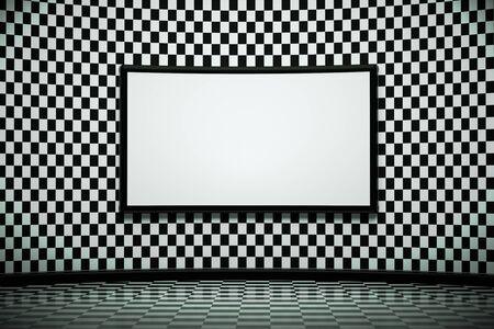a creative black and white room with blackboard photo
