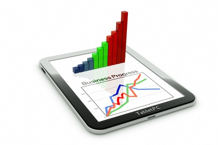 graphics: a tablet pc and business diagram as a concept of process of business development